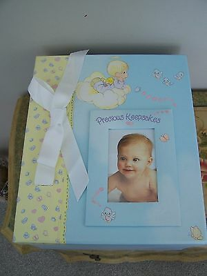 Baby's Precious Keepsakes Storage Box, Two Drawers, Colorful With Cloud Design