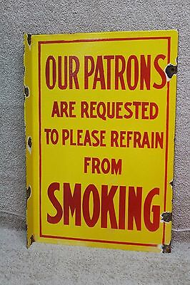 Shell Our Patrons Refrain Smoking  Porcelain Flange Sign Gas  Oil Service 2Sided