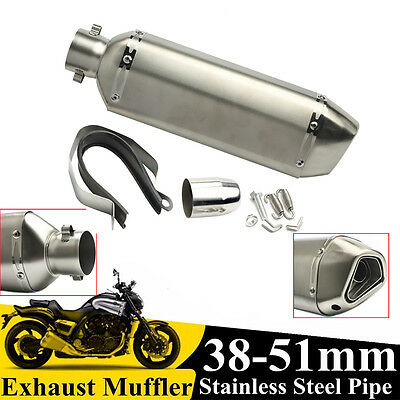 38-51mm Motorcycle Dirt Street Aluminum Exhaust Muffler Pipe Removable Silencer