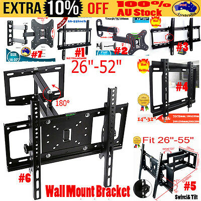 Universal TV Wall Mount Bracket Full Motion Tilt Swivel VESA LCD LED 14-55 Inch