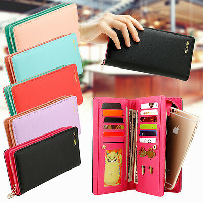 Women Faux Leather Wallet Long Zip Purse Ladies Card Holder Case Clutch Handbag