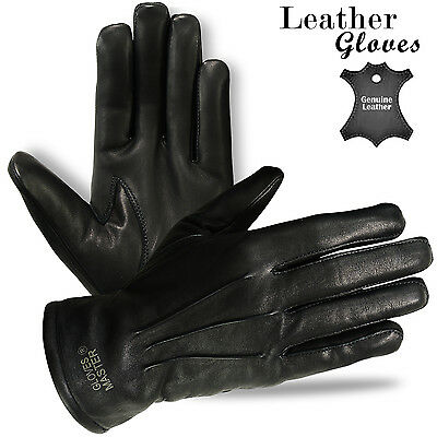 Mens Leather Dress Gloves Winter Leather Motorcycle Motorbike Gloves - S to 2XL