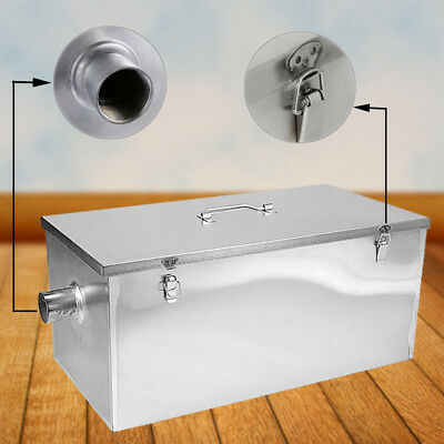 Convenient 25LB Commercial 13GPM Kitchen Grease Trap Stainless Steel Interceptor