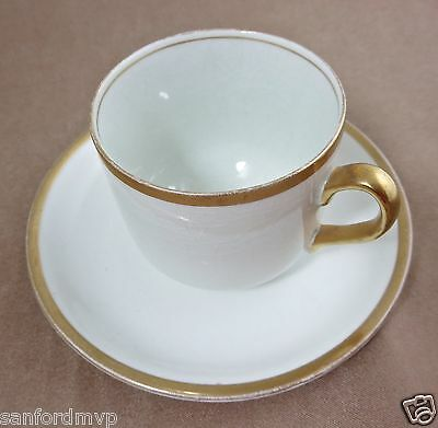 Grindley The Marengo Off White Coffee Tea Cup & Saucer Demitasse Gold Trim 882