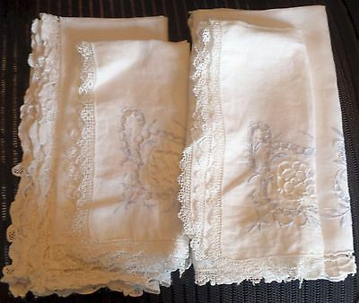 Antique Embroidered Cream Linen Pair Napkins & Placemats