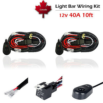 2X 12V 40A LED Work Light Bar CREE Wiring Harness Kit ON/OFF Switch Relay Cable