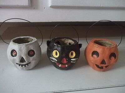 Artist Signed Paper Mache Halloween Themed Candy Containers Estate Find