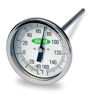 """Vee Gee Scientific 82160-6 Dial Soil Thermometer 6"""" Stainless Steel Stem 3"""" D..."""