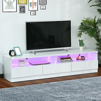 "71"" High Gloss LED TV Stand Unit Media Entertainment Center Home Storage White"