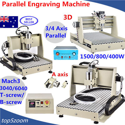 3/4AXIS 3040T/6040T CNC ROUTER ENGRAVER ENGRAVING CUTTER MACHINE MILLING Desktop