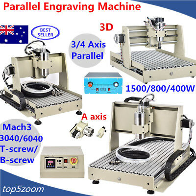 3/4Axis 3040T/6040T CNC Router Engraver Engraving Machine Desktop Carving Cutter