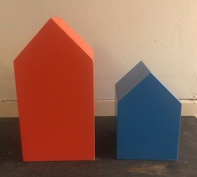 2 modernist house building geometric sculpture painted wood bookends