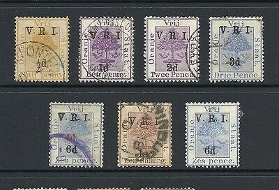 1900 Queen Victoria V.R.I. overprint collection Used ORANGE FREE STATE
