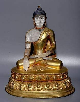 Amazing Large Rare Old Chinese Crystal Golden Bronze Buddha Statue A01