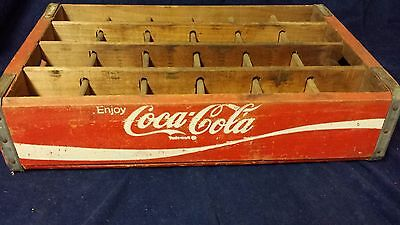 Vintage Enjoy Coca Cola Red and White Wooden Crate Case 1976 24 Divided