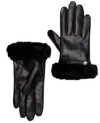 UGG 2303 Dyed Genuine Shearling Trimmed Leather Gloves Sz S