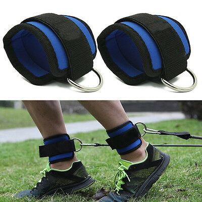 Gym Weight Lifting D Ring Ankle Straps Cable Attachment Strap Fitness Exercise