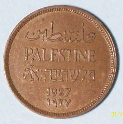 Palestine 1 Mil 1927 Almost Uncirculated Bronze Coin