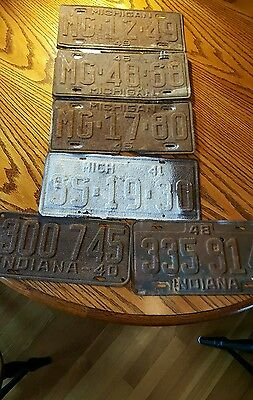 Vintage License Plates Lot of 6 1940's Michigan & Indiana