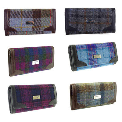 New Ladies Stylish Authentic Harris Tweed Long Wallet/Purse in Choice of Styles