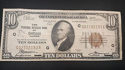 1929 Ten Dollar Chicago $10 Federal Reserve Note. Lot 1
