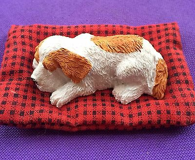 """Brittany Spaniel Puppy by Sandicast Sleeping on Bed 2""""W x3.5""""L NEW Free Shipping"""