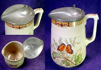 VINTAGE Antique BUTTERFLY Transfer PITCHER English PEWTER Lid PORCELAIN Stein