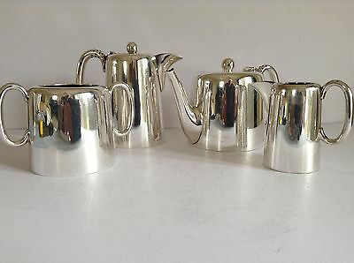 Vintage Silver Plate 4 Piece Tea & Coffee Set - Walker & Hall - Hotel Style