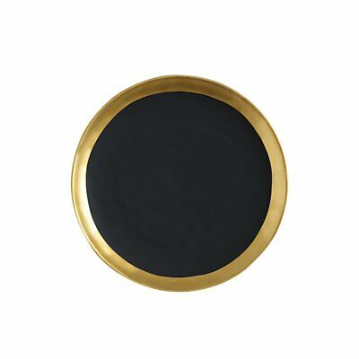 NEW Maxwell & Williams Swank Plate Round 16cm Black/Gold