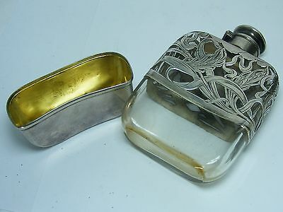 Antique Sterling Silver Wheat Overlay ALCOHOL FLASK Crystal Whiskey Decanter