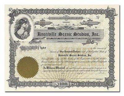Knoxville Scenic Studios, Inc. Stock Certificate