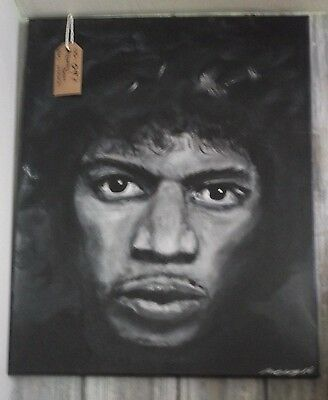 JIMI HENDRIX, ,.HAND PAINTED canvas 20 X 16  INS..READY TO HANG