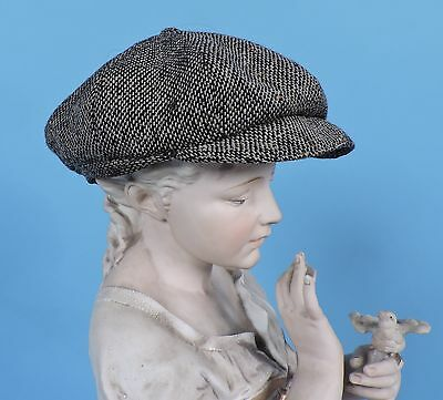 Antique Turn Of The Century Wool Tweed Newsboy Dress Cap As Found