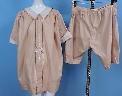 Antique Old Stock Teens Flapper 1920'S Two Piece Child'S Striped Dress Set