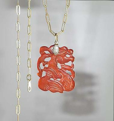 ~ VTG 1950's CARVED CHINESE CARNELIAN JADEITE FILIGREE PENDANT NECKLACE!~~