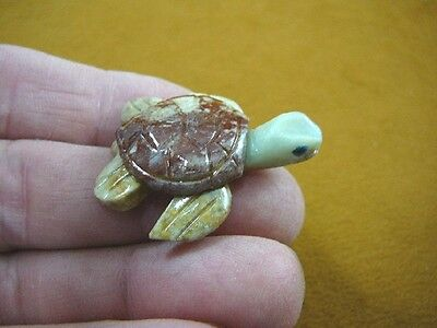 (Y-TUR-SET-3) little red tan SEA TURTLE carving stone gemstone SOAPSTONE PERU