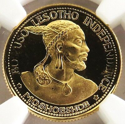 1966 Gold Lesotho 1 Loti Independence Coin Ngc Proof 69 Ultra Cameo