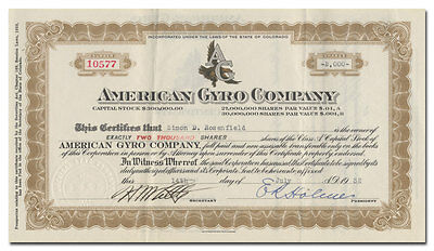 American Gyro Company Stock Certificate