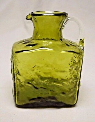 Vintage Pilgrim Hand-blown Glass Square Green Crackle Glass Pitcher