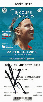 Mirjana Lucic Baroni Signed 2016 Montreal Canada WTA Rogers Cup Tennis Ticket