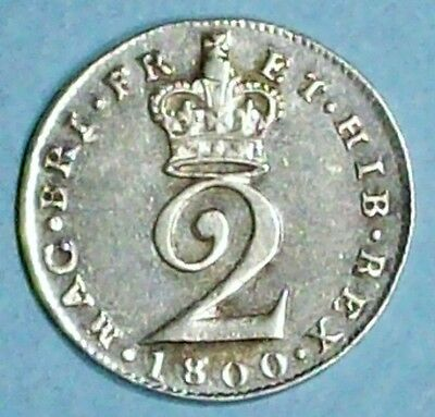 Great Britain 2 Pence 1800 Almost Uncirculated 0.9250 Silver Coin