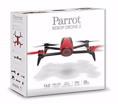 Parrot Bebop Drone 2 Red Quadcopter RC Vehicle w HD Camera NEW