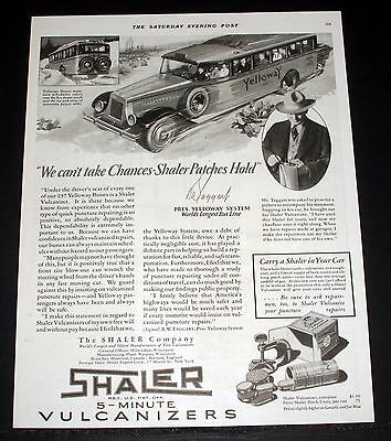 1928 Old Magazine Print Ad, Shaler 5 Minute Vulcanizers, Yellowway Bus Lines!