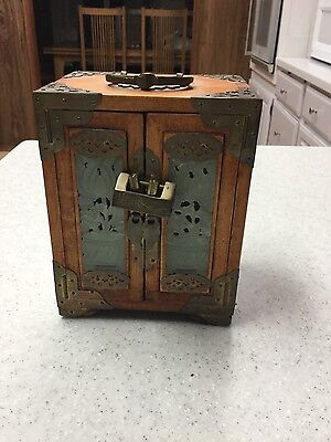 Antique Chinese Wood & Brass With Jade Panels - Jewelry Box