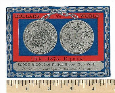Dollars of the World CHILE 1875 Imprinted by Scott & Co Coin Dealers Trade Card