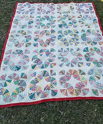 """UNUSUAL Well Quilted 30's Art Antique Quilt Feed Sacks 66""""×52"""""""
