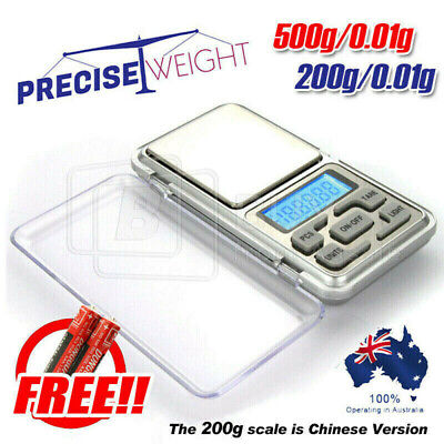 500g/200g 0.01g DIGITAL POCKET SCALES JEWELLERY PRECISION ELECTRONIC WEIGHT LAB