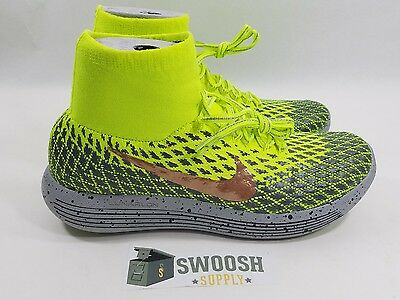 e1b12d8188c7 Nike Lunarepic Flyknit Shield H20 Repel SZ 9.5 Volt Red Bronze Grey  849664  700