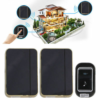 Waterproof Wireless Remote Control 2 Receivers Doorbell Chime 36 Tunes Songs