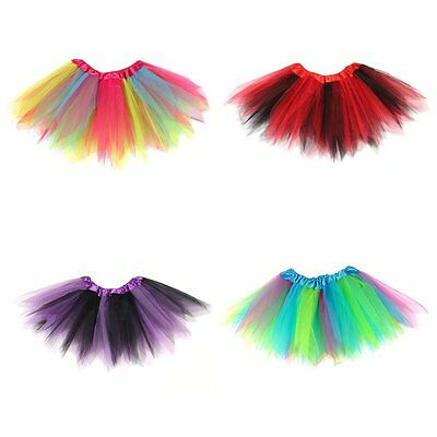 Colorful Baby Kids Girls Tutu Skirt Dancewear Princess Tulle Skirt Rainbow Color
